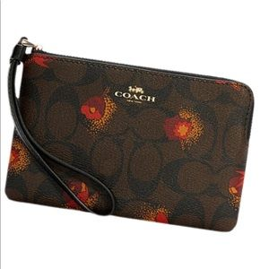 Corner Zip Signature Canvas with Pop Floral Print Gold/Brown Black Multi Leather